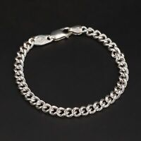 """Sterling Silver - ITALY Signed 6mm Cable Chain Link 8"""" Bracelet - 7g"""