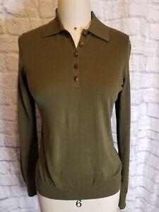 Ralph Lauren Black Label NWOTWomen sze sml olive grn l/s cotton Sweater Polo