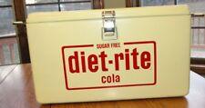Retro Steel Body Diet-Rite Cola YELLOW Cooler w/ Bottle Opener SUPERB ORIGINAL