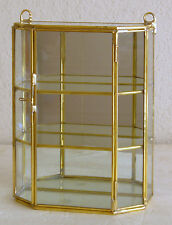 """8"""" Tall Glass and Brass Small Curio Display Cabinet"""