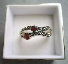 Beautiful Genuine Silver, Marcasite & Garnet CZ Ring - Size N/O