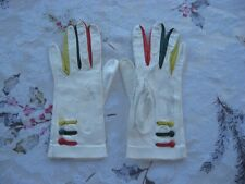 New listing Vintage 1970's Italian Leather Short Gloves Womens Very Small Yellow Green Red