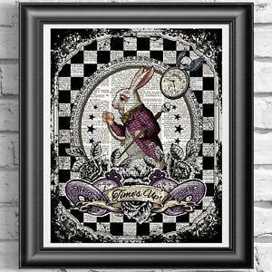 Tattoo Original ART Print DICTIONARY ANTIQUE BOOK PAGE Alice in Wonderland