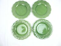 Pinheiro Bordallo Grape Leaves Lot 4 Plates China Majolica Portugal Green Dish