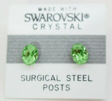 Green Oval Stud Earrings 8mm Small Light Crystal Made with Swarovski Elements