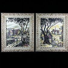 Set of 2 Rare Original Landscape Signed Marotta Hand Colored Framed Drawings