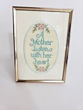 A Mother Listens With Her Heart 5X7 Framed with Glass Oval Shape Needlepoint Hom