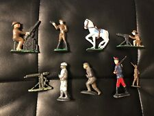 Mixed Lot Of 7: Vintage Toy Lead Soldiers + Horse + Machine Gun
