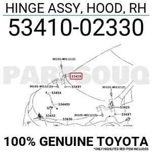 5341002330 Genuine Toyota HINGE ASSY, HOOD, RH 53410-02330