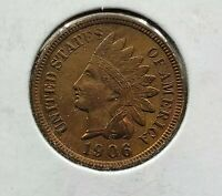 1906 Indian Head Cent Penny Nice coin XF EF EXTRA FINE Brown