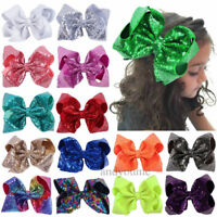 Large Sequin Hair Bow Alligator Clips Headwear Baby Girls Hair Accessories 8""
