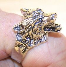 WOLF HEAD BIKER RING BR98 HEAVY silver NEW wolves novelty fashion jewelry men