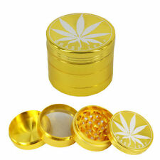 Golden Leaf Grinder 4 Part Metal Gold Color Herb Grinder