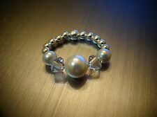 Toe Ring - Sterling Silver Plated - made with Swarovski Crystal Pearls