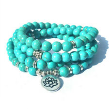 6mm Turquoise 108 Beads Lotus Pendant Bracelet Healing Lucky Wrist energy