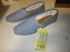 Toms Classic Blue Slub Chambray Womens Burlap Espadrilles Shoes Slipons Size 8.5