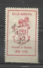 5254- SELLO FISCAL LOCAL AÑO 1937.MUNICIPAL ALHAMA DE MURCIA.RARO.ALTO VALOR.SIN