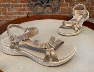 Skechers Champagne GOwalk On-the-Go 600 Multi Strap Sandals Sheen New