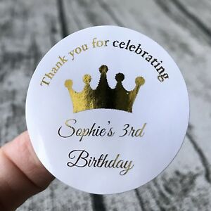 24x 4cm Personalized Birthday Gift Stickers Thank You Gold Foil Favour Labels