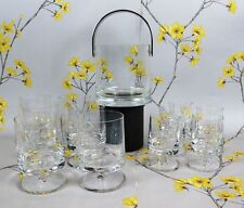 Elegant set of crystal glass Whisky Vodka Cocktail GLASSES TUMBLERS + Ice Bucket
