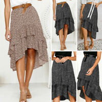 Women Polka Dot Ethnic Long Ruffle Skirt Ladies Casual Summer Beach Midi Dress