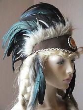 indianer,stirnband,schwarze federn,unisize,federhaube,warbonnet,perlenmandala