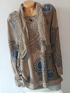 ITALY 2 Tlg.Longshirt,Tunika,Bluse,Shirt,Pailletten,moderne Print,Gr.44,46,48Neu