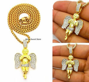 14K YELLOW GOLD MICRO ANGEL JESUS CHARM PENDANT PEARL CHAIN NECKLACE
