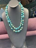 1950S Beautiful Pale Aqua Faux Pearl Lucite Beaded Two Strand Pearl Necklace 24""