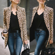 Women Leopard Print Sexy Winter Warm Wind Coat Cardigan Long Cardigan Coat Jacke