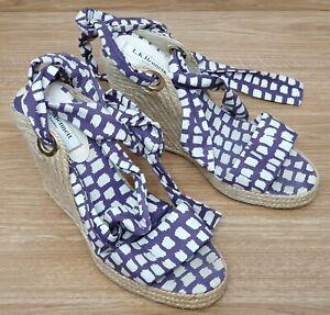 L K BENNETT Ladies White Purple Espadrilles Wedge Heels Shoes EU 38 UK 5.5
