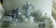 Lot of 120+ Silver & White Christmas Tree Ornaments-Mirror Ball-Snowflakes-Bows+