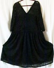 Chao Meng Dress Black Lace 3XL V Neck Midi 3/4 Sleeve Party Cocktail