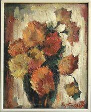 BORIS PASTUKHOV (1894-1974) SIGNED RUSSIAN IMPRESSIONIST OIL - FLOWERS IN VASE