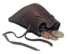 LARP Leather Draw String Small Pouch Bag Money Dice Reenactment in Black Brown
