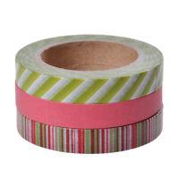 Set of 3 DIY Washi Sticky Paper Masking Adhesive Tape Crafts Scrapbooking Decor