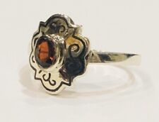 Sterling Silver Niello Red Garnet Ring Size L
