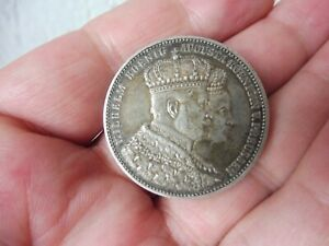 alte Münze , KRÖNUNGSTALER 1861 Wilhelm König von Preussen/ Augusta Königin