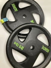 """2 35 lb Olympic Barbell Cast Iron Weight Plates Set Ignite Standard 1"""" Inch Hole"""