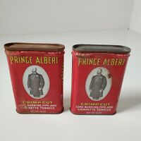"2 Old Vintage 1 5/8 oz Prince Albert Tobacco Tins Approx 3"" x 4.25"""