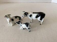 Vintage 1960'S Miniature Bone China Family Of Black & White Cows