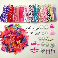 Doll Accessories Clothes Shoes Necklace Glasses For Barbie Doll Gift 40 Item/Set