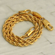 Womens 14K Yellow Gold Filled Authentic Rope Chain Bracelet Fashion Wrist Solid