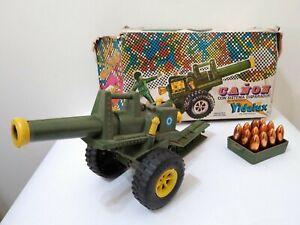 VINTAGE CANON W/ PLASTIC TOY SOLDIERS SET 1/32 YDALUX ARGENTINA 1970's