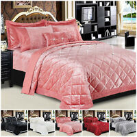 Crushed Velvet Quilted Bedspread Throws Double & King Size Bedding Comforter Set