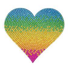Rhinestone Sticker Rainbow heart 5 inch large bling Laptop Tablet free ship