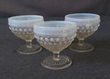 Vintage Blue/Clear Pressed Glass Footed Compote/Dessert Dishes Set of 3