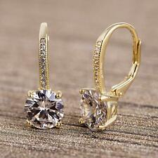 18K Gold Plated Clear Flower Tiny Huggie Hoop Little Girls Earrings ITALY MADE