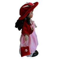 Porcelain Doll 12'' Standing with Pink Dress Victoria Style w/Display Stand