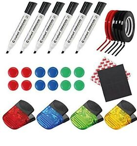 Whiteboard Kit Complete Set 58 pieces Magnetic Markers Tape and More